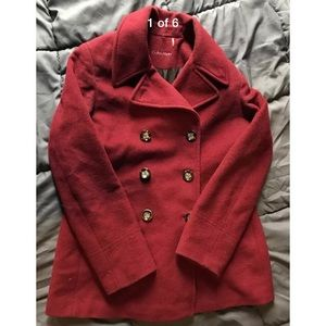 Womens Wool Calvin Klein Pea Coat jacket  red Sz 8